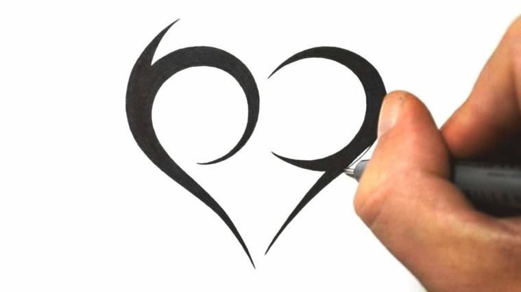 fasi finale di un disegno per tatuaggi cuoricini stilizzati e dalla forma particolare