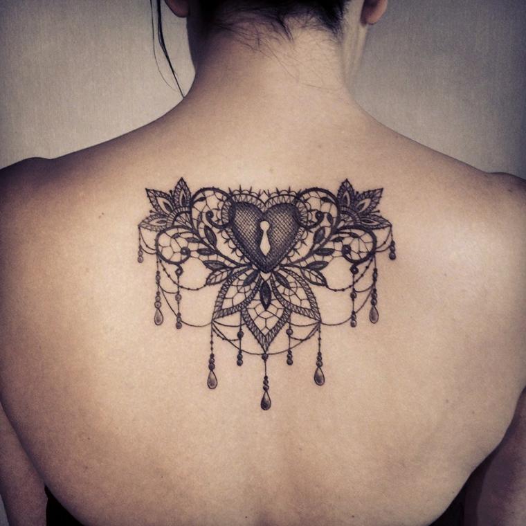 idea per realizzare dei tatuaggi a forma di cuore dietro la schiena con la serratura