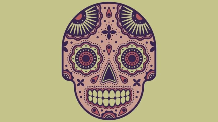 teschio colorato, un'immagine raffigurante un teschio in stile messicano viola su sfondo verde salvia