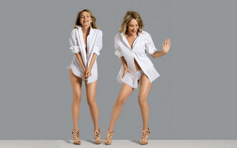 Le attrici pi belle del mondo e una foto di Sharon Stone, look casual con una camicia bianca