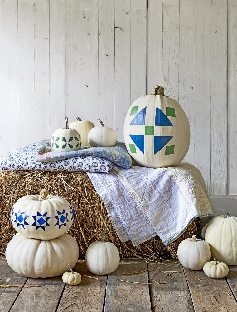 Idee fai da te per la decorazione delle zucche di Halloween con motivi geometrici