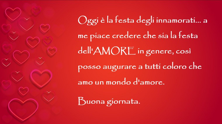 Frasi ironiche per la Festa dell'Amore, sfondo di colore rosso con tanti piccoli cuori