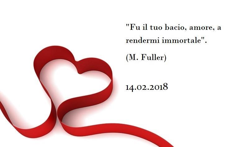 Frase dolce per la festa di San Valentino tratta da M. Fuller, immagine con sfondo bianco e cuore rosso