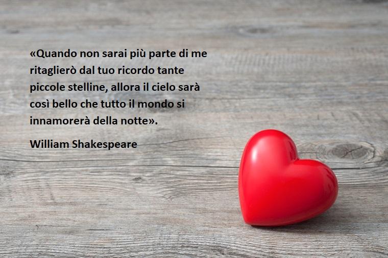 Citazione tratta da William Shakespeare sull'amore da dedicare alla festa degli innamorati