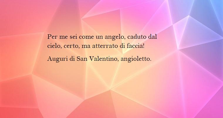 Idea per frasi divertenti da mandare per la festa di San Valentino, immagine con sfondo forme geometriche di colore rosa