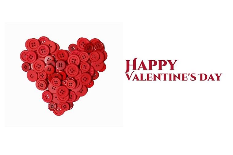 Augurare un buon San Valentino, cuore di bottini e scritta in inglese
