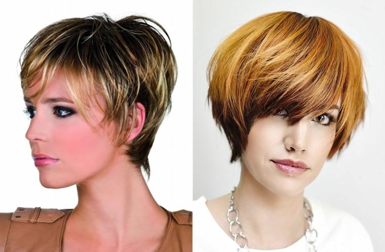 tagli scalati, due proposte di tendenza per capelli corti con frangia