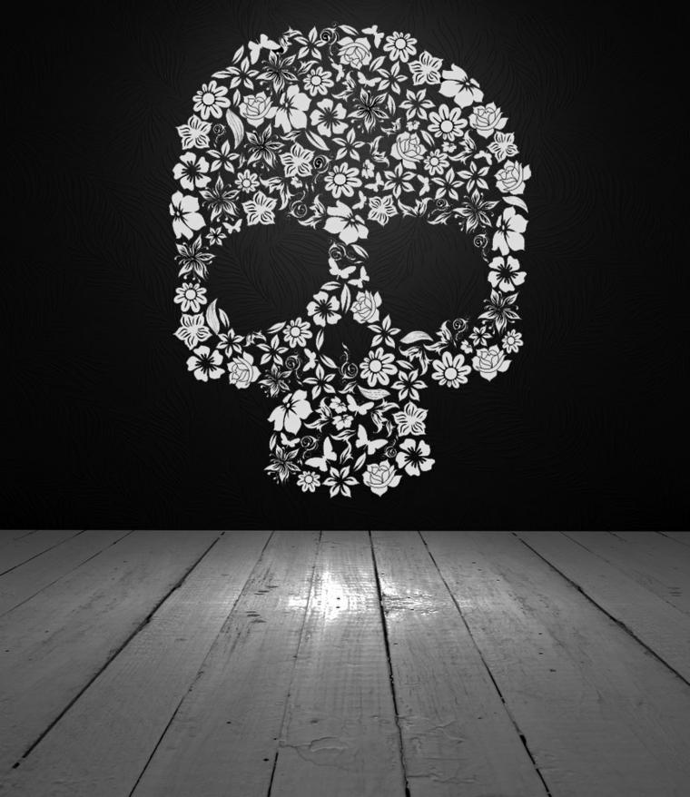 sticker murale raffigurante un teschio della tradizione messicano con dei fiori bianchi