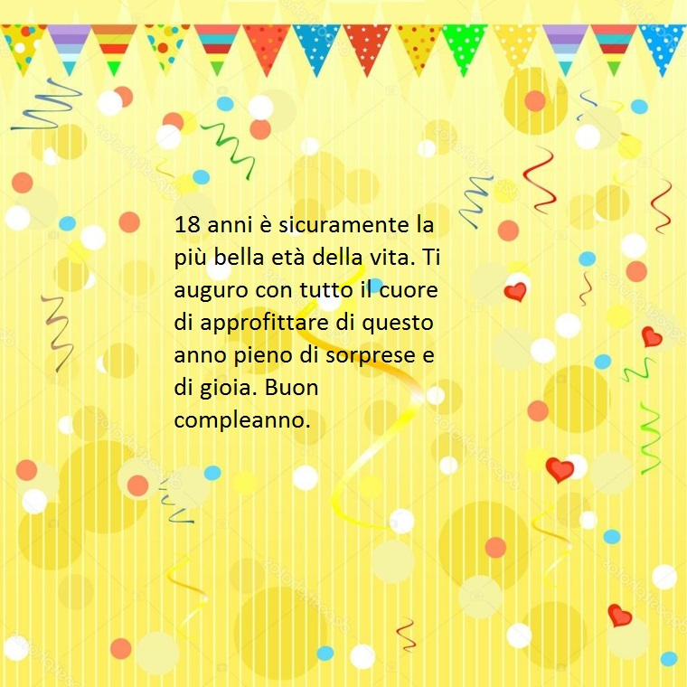 proposta di frasi belle buon compleanno da dedicare ad un diciottenne augurando sorprese e gioia