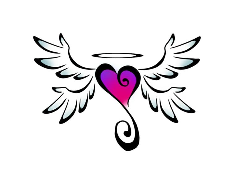 un disegno originale per realizzare dei tatuaggi a cuore colorati con ali e aureola