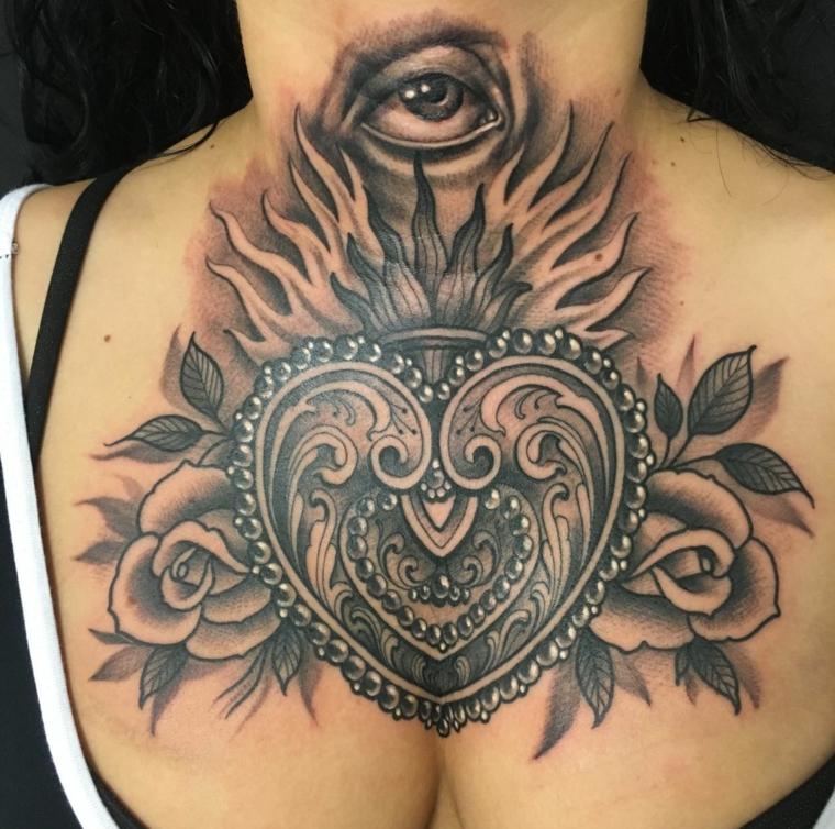 1001 idee per tatuaggio cuore in tutte le possibili opzioni for Tattoo spalla anteriore
