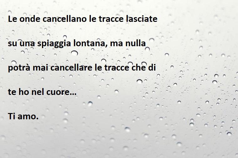Immagine con sfondo gocce di pioggia con scritta da mandare nel giorno degli innamorati