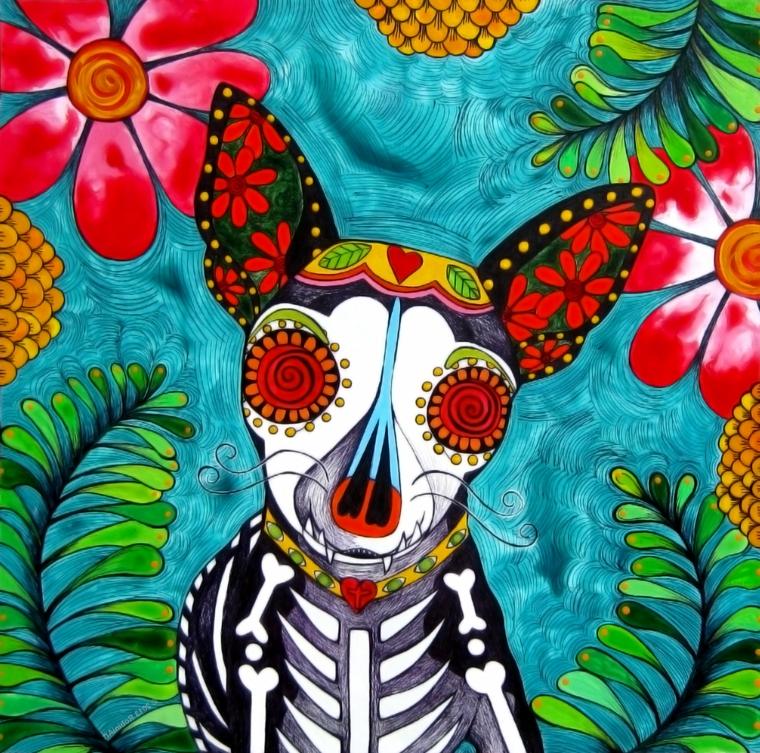 un disegno colorato con un chiuauha in primo piano con teschio della tradizione messicana