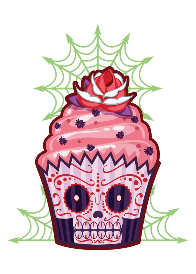 disegno originale di un cup cake con il teschio stilizzato messicano sulla base