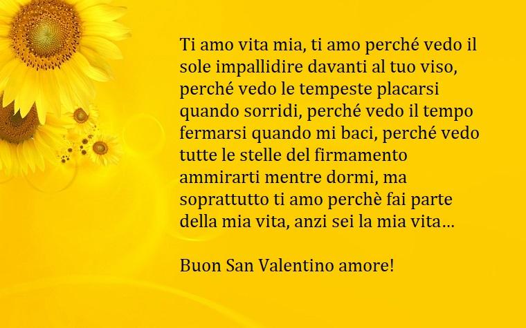 Idea carina per augurare un Buon San Valentino con scritta su una immagine con sfondo giallo e girasoli