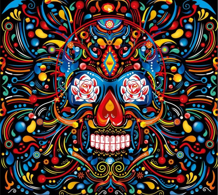 un disegno ricco di dettagli e di colori con al centro un teschio in stile messicano con rose negli occhi