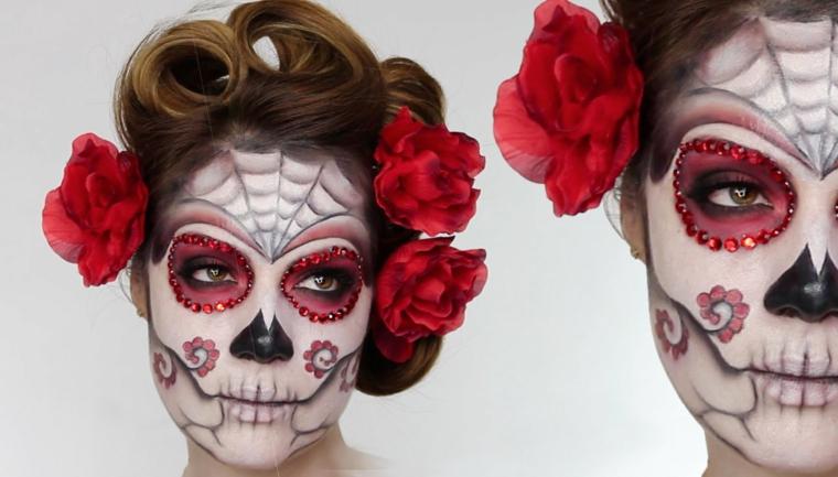 disegni teschi messicani, l'immagine del volto di una donna truccato con gli occhi rossi contornati da glitter