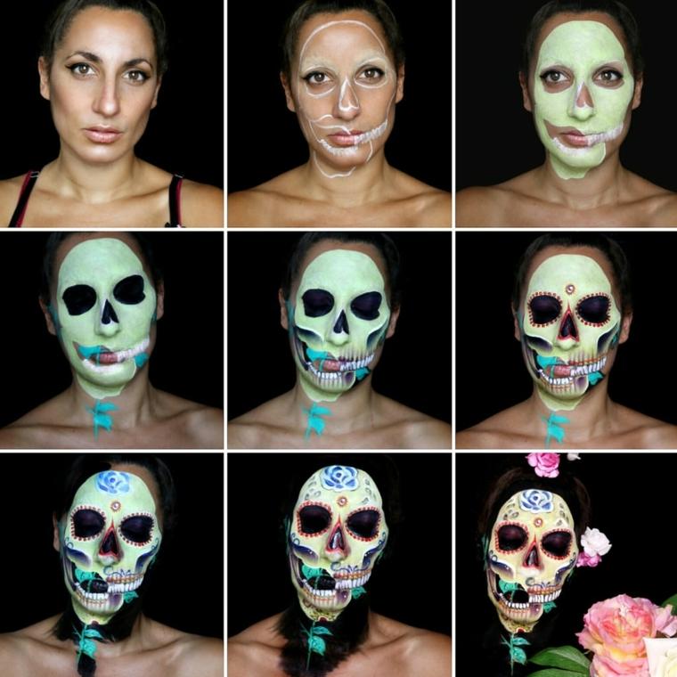 teschio messicano, i vari passaggi per la creare un makeup originale e colorato