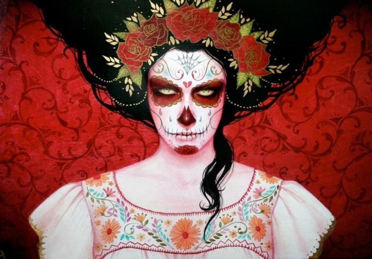 disegni teschi messicani, un'immagine raffigurante una donna con gli occhi truccati di rosso, delle rose fra i capelli sciolti