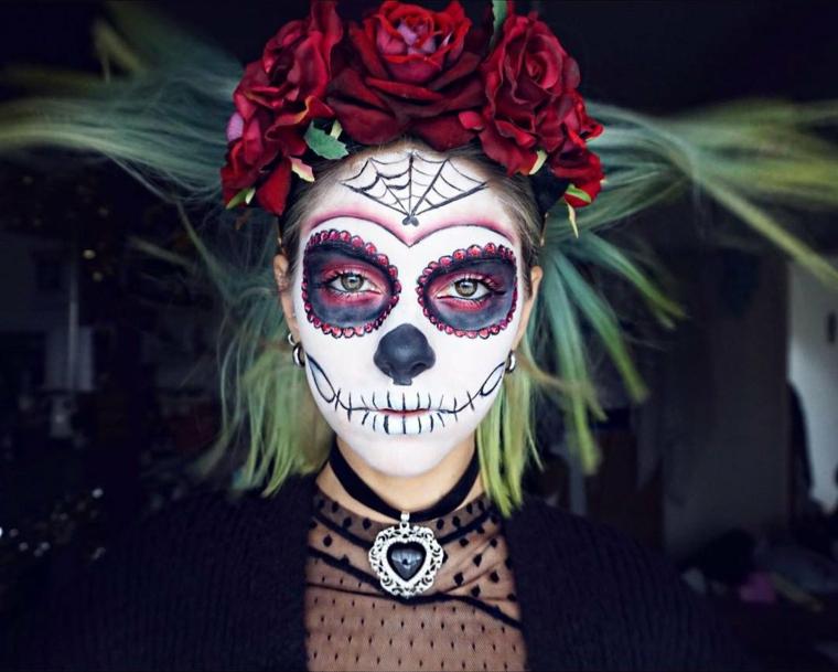 trucco ispirato alla santa muerte della tradizione messicana per il giorno di halloween