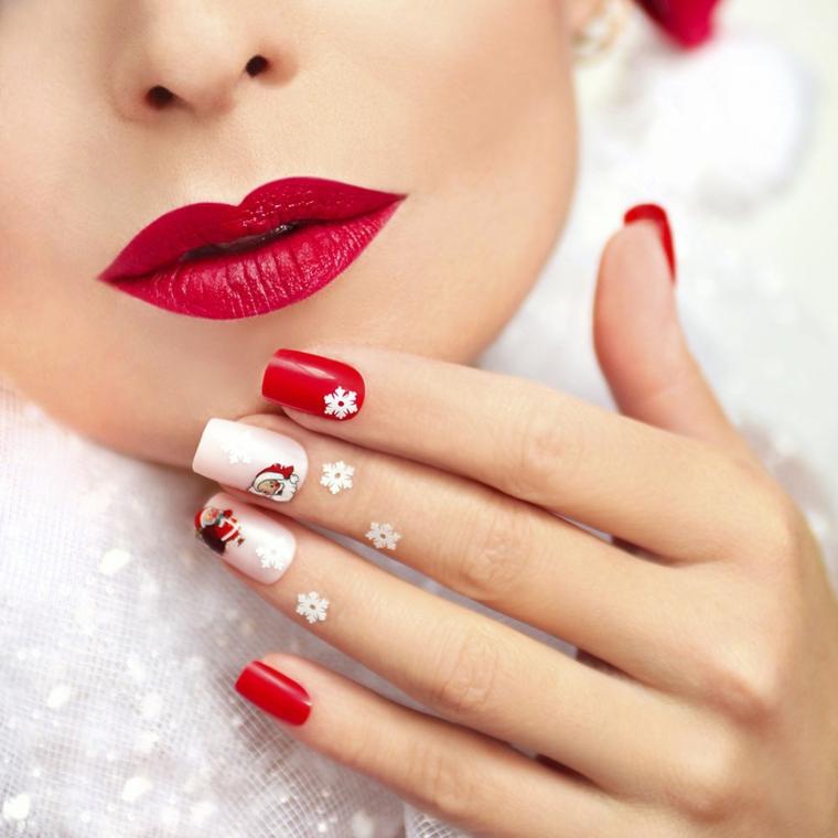 Smalto di colore rosso e rosa con sticker a tema natalizio, abbinamento al rossetto rosso