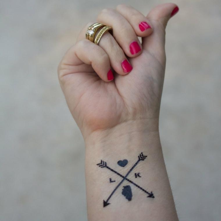un'idea originale per tatuaggi cuoricino da realizzare sul polso con frecce e lettere