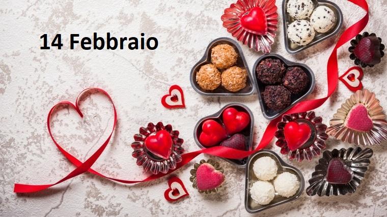Idea cartolina regalo per la festa di San Valentino e scritta 14 Febbraio