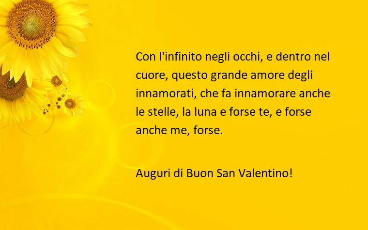 Frasi divertenti per augurare un buon san valentino con sfondo giallo e girasoli