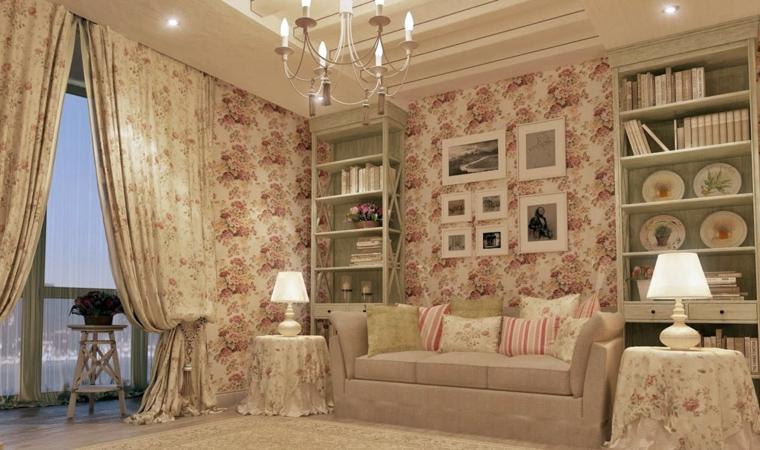 1001 idee per stile shabby l 39 arredo e la decorazione for Carta da parati per soggiorno classico