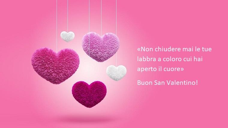 Idea per un bigliettino per San Valentino con sfondo rosa e una dedica d'amore