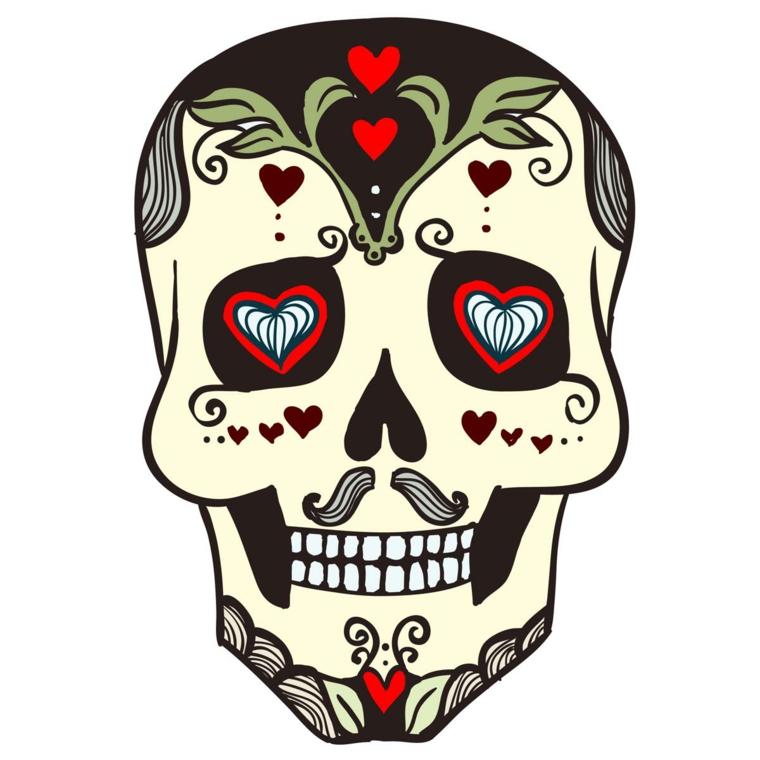 teschio messicano tattoo, un disegno particolare grazie ai baffi e ai cuori negli occhi e sulla fronte