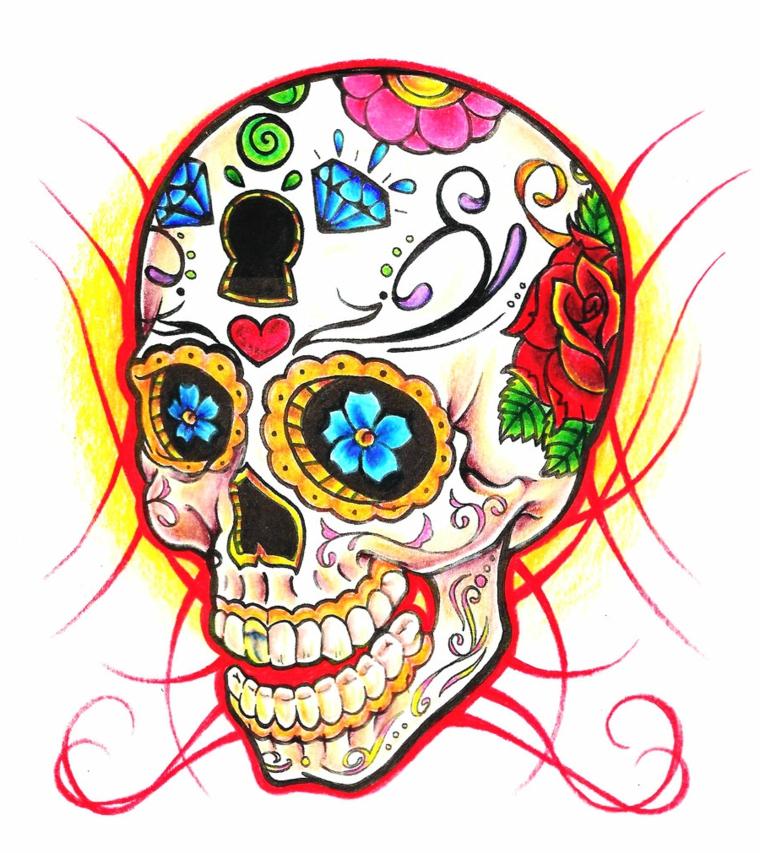 un disegno di un teschio in stile messicano con una grande serratura sulla fronte