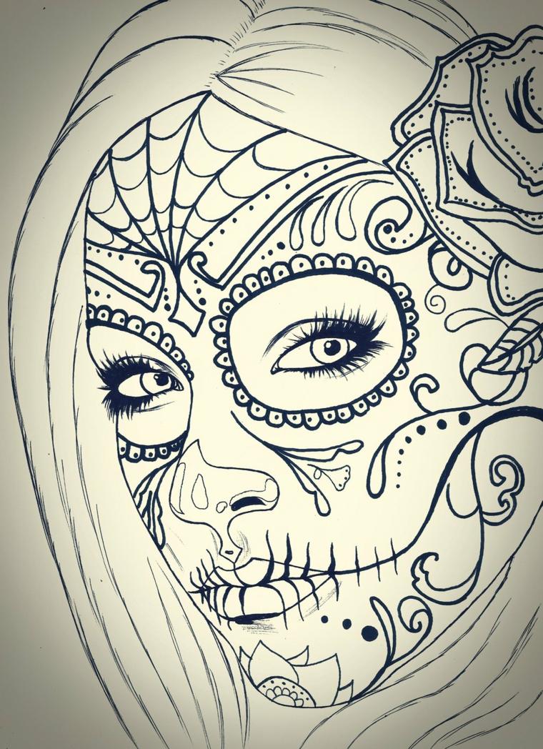 teschio messicano tattoo, un disegno in bianco e nero della santa muerte