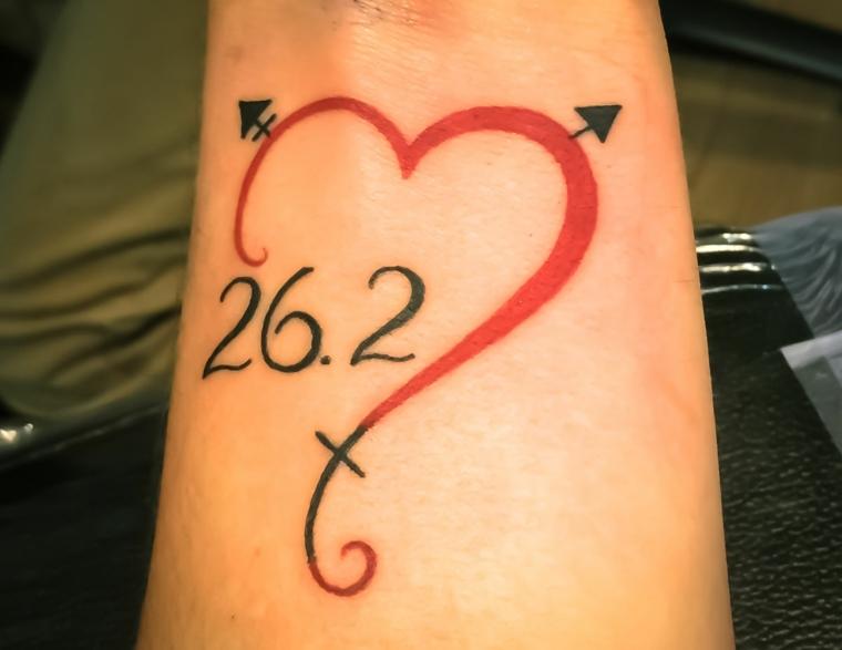 un'idea per tatuaggi cuori piccoli colorato e con una data