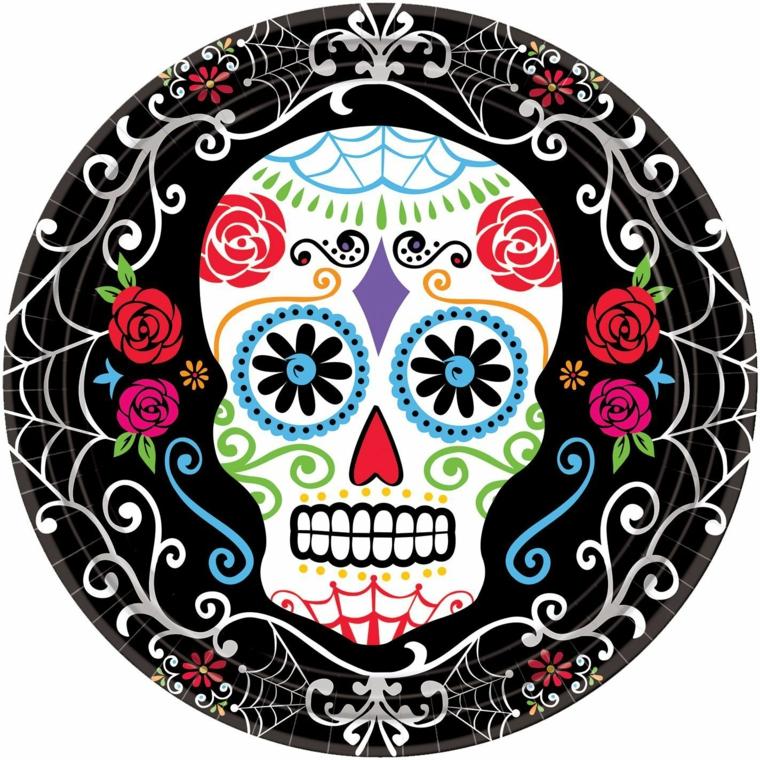 teschi messicani tattoo, un'immagine con un grande teschio bianco con decorazioni al centro di un cerchio nero
