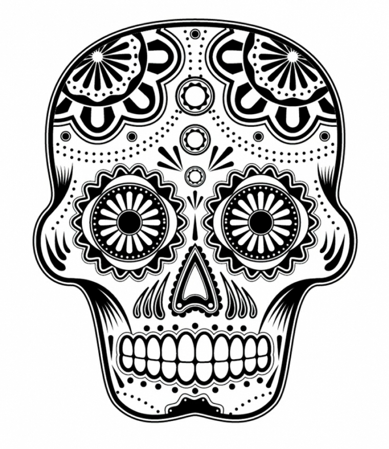 immagini teschi messicani in bianco e nero: un'idea per un tattoo che può avere varie dimensioni
