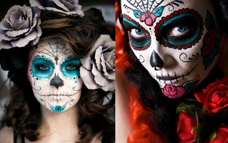 disegni teschi messicani, due proposte per realizzare elaborati makeup per holloween