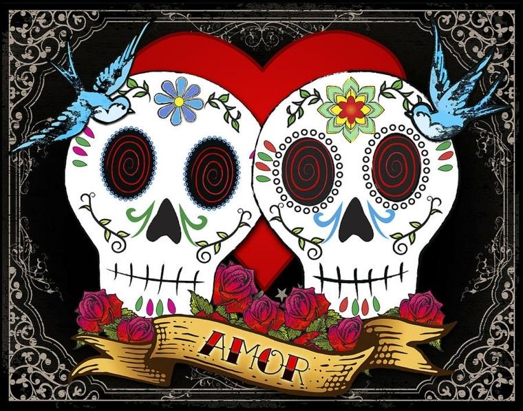 """teschio messicano disegno, una proposta dedicata agli innamorati con rondini, rose e scritta """"amor"""""""