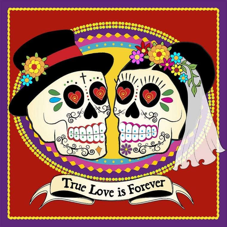 teschio messicano disegno, una proposta colorata dedicata agli sposa con una dichiarazione d'amore eterno