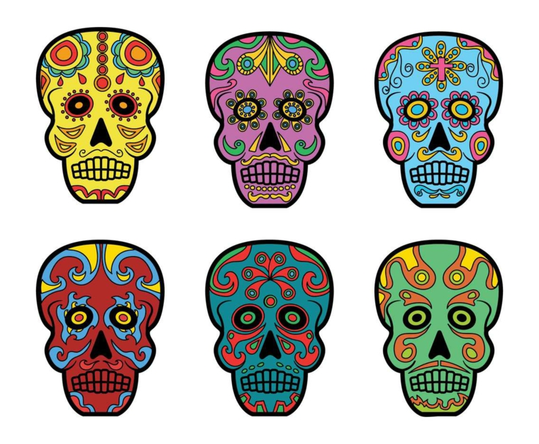 tatuaggio teschio messicano, sei diversi disegni con decorazioni e tonalità differenti
