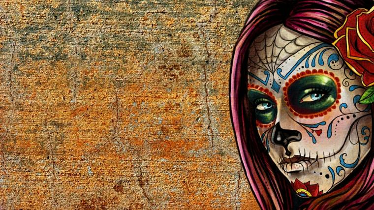 teschi messicani, un'immagine della tradizione messicana di una donna con gli occhi verdi contornati di rosso