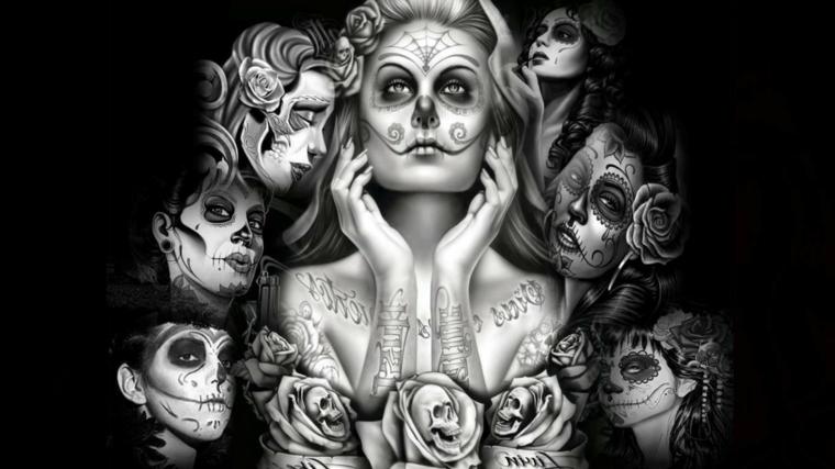 immagini teschi messicani, un'immagine particolare della santa muerte in bianco e nero