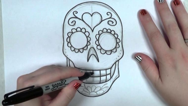 tattoo teschio messicano, un disegno in fase di ultimazione semplice ma originale