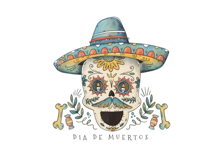"""teschio messicano tattoo, una proposta originale con la scritta """"giorno dei morti"""" e un sombrero"""