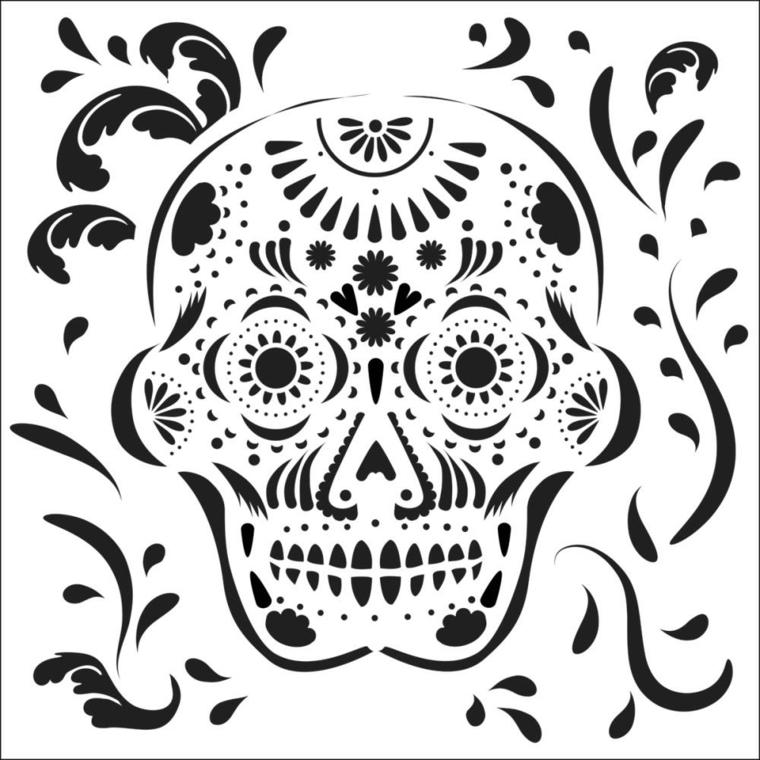 tattoo teschio messicano, un'immagine in primo piano di grandi dimensioni in bianco e nero