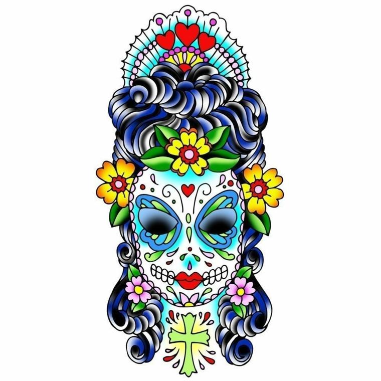 teschio messicano disegno, una proposta della santa muerte con fiori, cuori e croce
