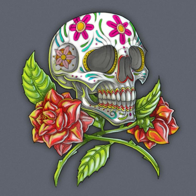 tatuaggio teschio messicano, una proposta tutta da copiare per chi ama anche le rose