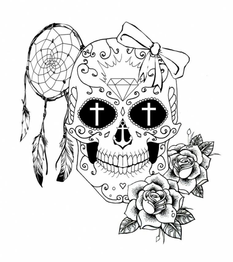 1001 idee per teschio messicano tutte da copiare for Acchiappasogni disegno