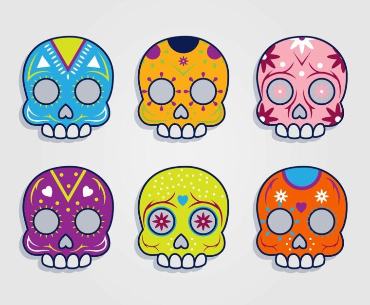 tattoo teschio messicano, alcuni disegni di colori e decorazioni diverse per scegliere il tattoo ad hoc