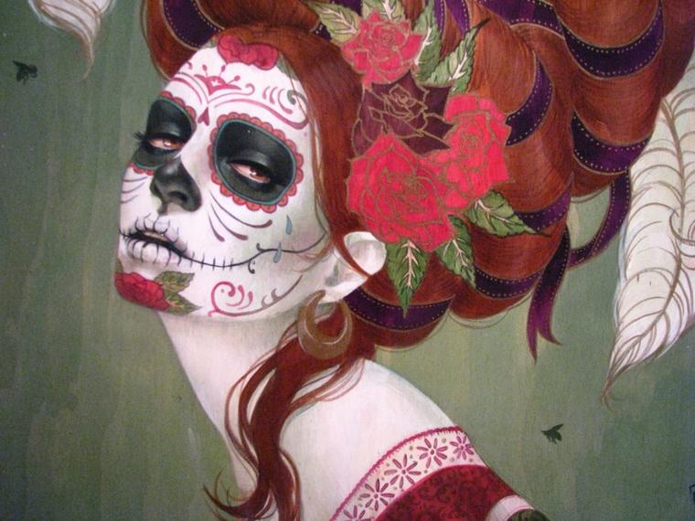 disegni teschi messicani, un'immagine raffigurante una donna con gli occhi neri e i capelli rossi con delle rose e dei nastri